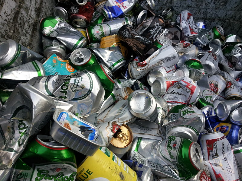 Food and Drink Cans in Recycling Bin