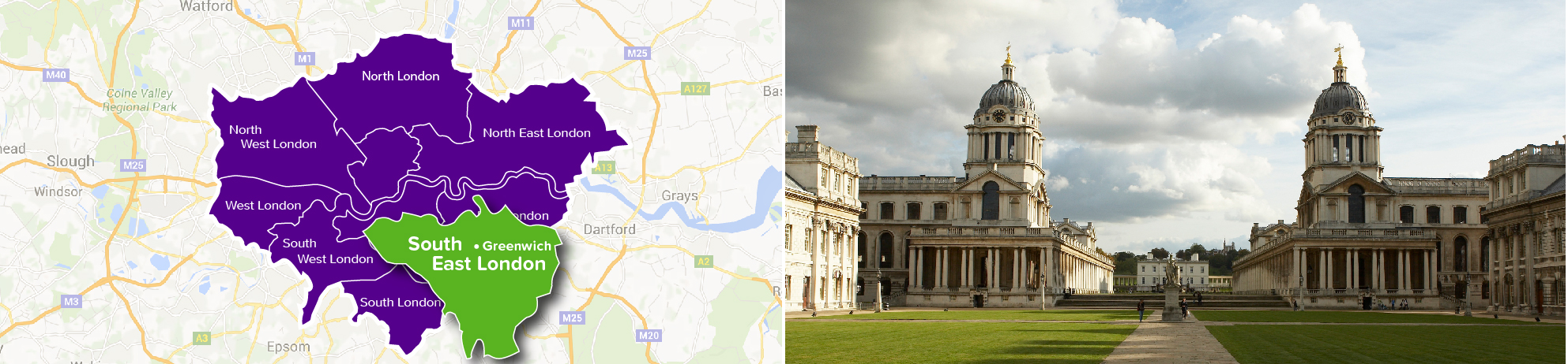 Map of Greenwich, and Greenwich buildings