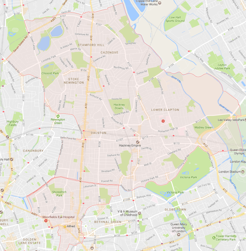 Map of Hackney and North London
