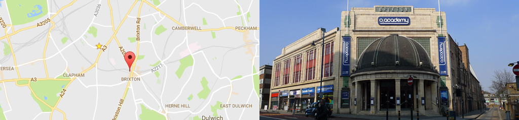 Map of Brixton, and Brixton O2 Academy