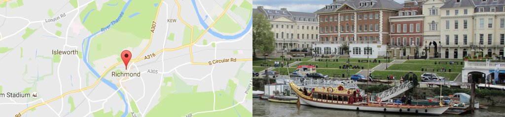 map of Richmond, and Richmond on the Thames.