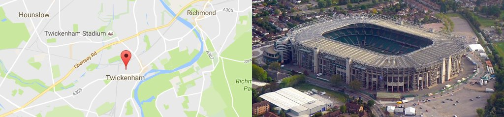 Map of Twickenham, and Twickenham stadium