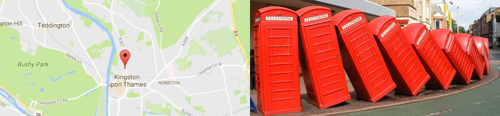 Map of Kingston, and Kingston phone boxes