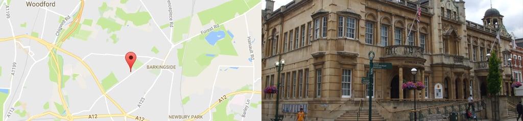 Map of redbridge, and Redbridge Council building
